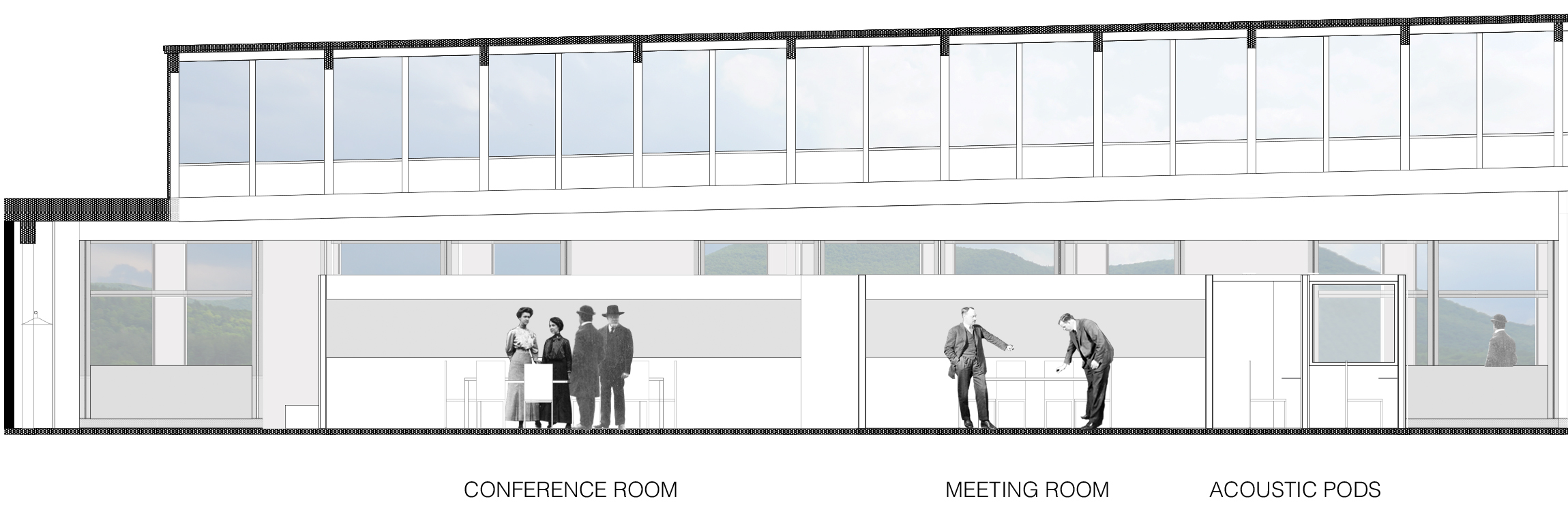 NORTH VIEW THROUGH MEETING SPACES